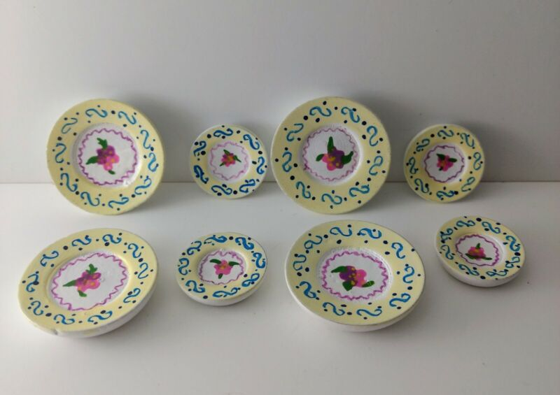 Dollhouse Miniature Hand painted Floral Dinner & Lunch Plates 1:12, set of 8