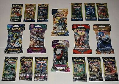 Lot of 18 Assorted / Authentic Pokemon Booster Packs / 10 Different Sets / NEW