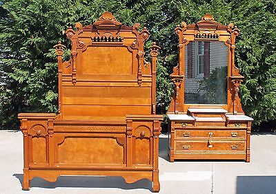 Victorian Bedroom Suite - Phenomenal Aesthetic Victorian Burl Walnut 2 piece Bedroom Set Suite Circa 1875