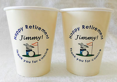 24 Personalized Ivory hot/cold 9oz. Cups for RETIREMENT GOLF THEME Party Supply (Golf Themed Party Supplies)