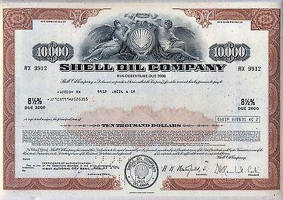 $10,000 Shell Oil Company Bond Stock Certificate Gas Royal Dutch