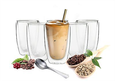 6 doppelwandige Cappuccino Gläser 200ml mit 6 Edelstahl-Löffel Kaffeegläser