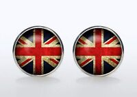 Gift Bag + Union Jack Cuff Links Silver Plated Cufflinks British Flag Round Uk - union - ebay.co.uk