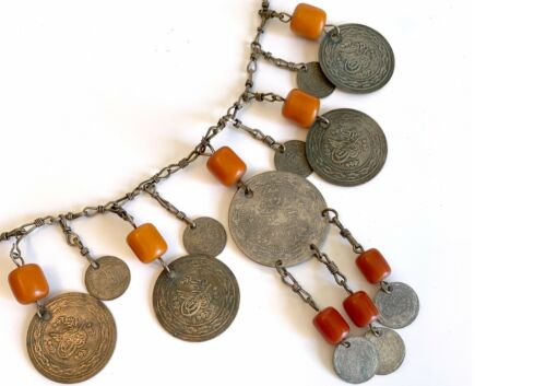 Antique Bedouin Necklace Silver Ottoman Coins Early 1900s