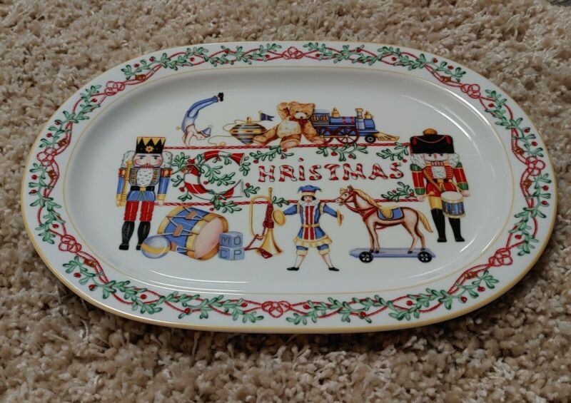 "Limited Edition Block Spal Portugal Whimsy Christmas 16"" Oval Platter  1992"