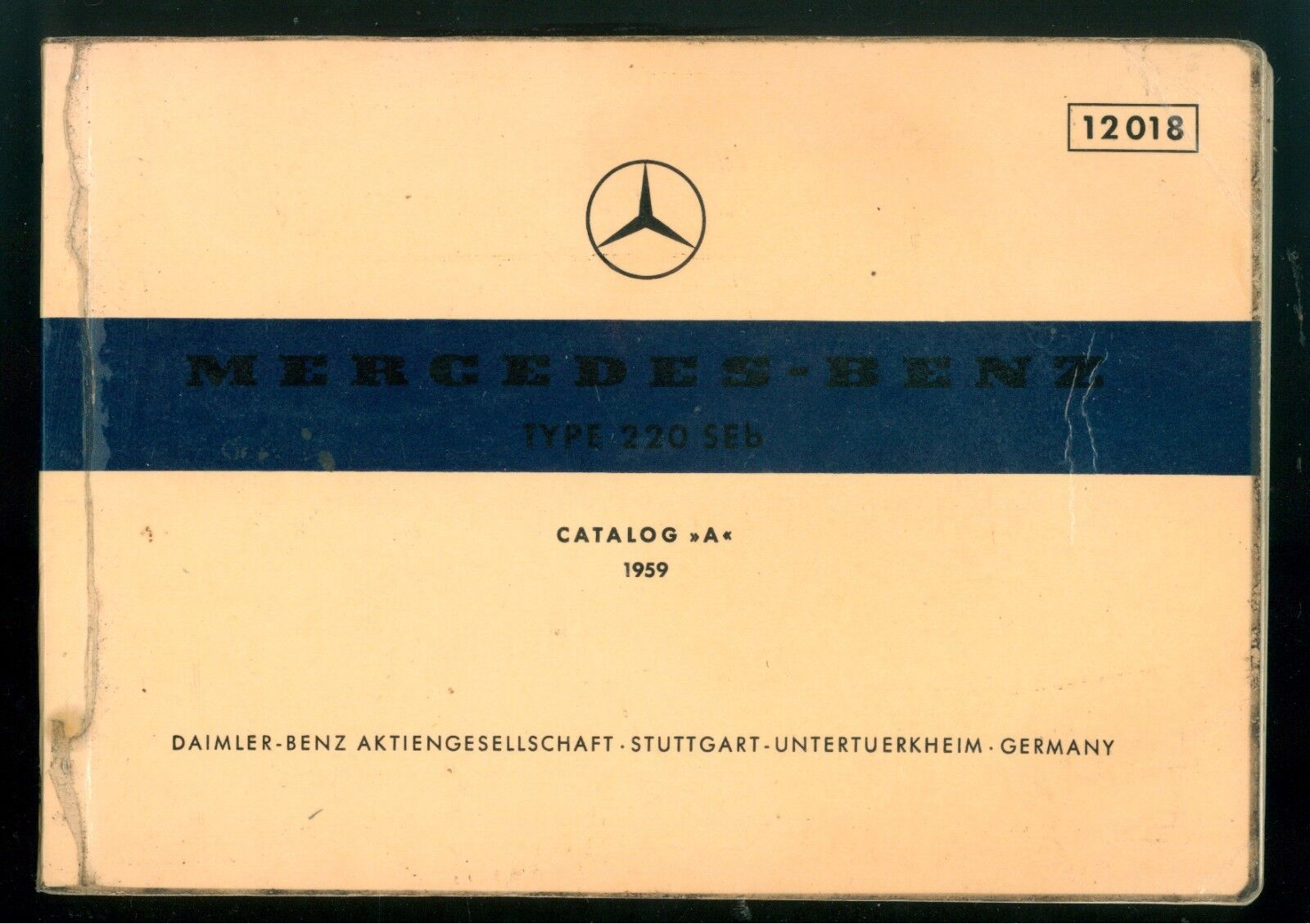 MERCEDES BENZ TYPE 220 SEB CATALOG A 1959 AUTOMOBILI MACCHINE MOTORI