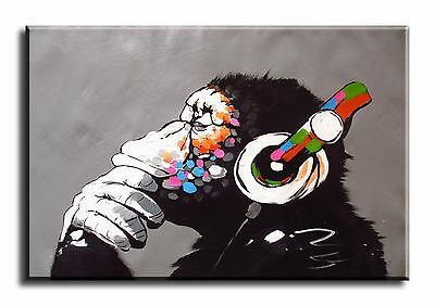 Large Wall Art Canvas Print of Banksy DJ Monkey Framed