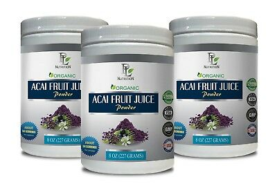 acai drink mix - ORGANIC Acai Fruit Powder - antioxidant powder 3 Bottles ()