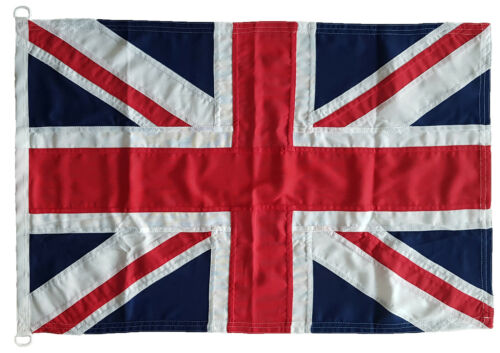 Union Jack storm flag MoD approved traditional sewn 3x2ft  92x61cm white D clips