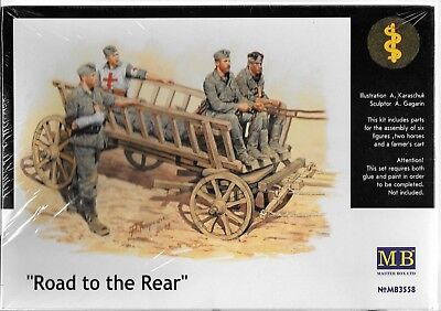 Master Box WWII German Solders (5) Injured, Medic, Fatigued on Cart 1/35 3558 ST