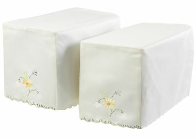 Embroidered Flower Garden Square Arm Caps Pair Floral Chair Cover Antimacassar
