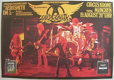 AEROSMITH CONCERT TOUR POSTER 1977 ROCKS MUNICH CIRCUS KRONE STEVEN TYLER RARE