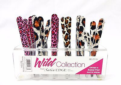 Satin Edge Animal Print Tweezer Wild Collection Set of 3 Slanted Slant Tweezers