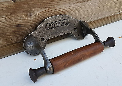 Simple vintage design wall mounted toilet loo roll holder Cast iron & wood