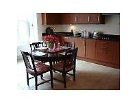 Solid wood extendable dining table and 6 chairs