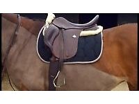 "Bates 17.5"" adjustable gullet brown leather saddle with CAIR system"
