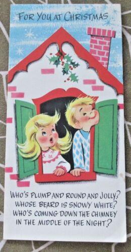 "Vintage Christmas Card Happy Holidays ""Jolly Santa Doll"" To Construct, 1960"