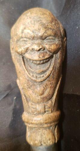 """ANTIQUE WOOD CORK SCREW - LAUGHING MAN - 6"""" LONG"""