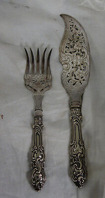 Antique Victorian Sheffield Fish Set Atkin Brothers Ornate Fish Set c1880