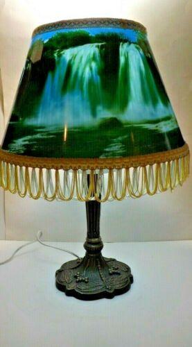 Vintage Waterfall Revolving Shade Motion & Sound Lamp Fringe Edge Birds Rotating