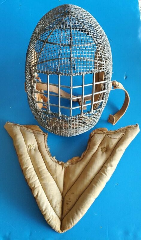ANTIQUE 1890's METAL WIRE FENCING PROTECTIVE MASK HELMET SWORD FIGHTER