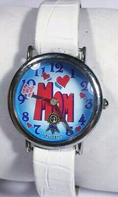 Mom Watch #1 Youre The Best Blue Face Silver Case White Band Red Acc