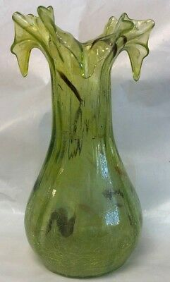 "8"" light green crackle glass vase with ruffle rim top"