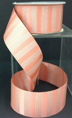 Coral Satin Embossed Ribbon. 1 1/2
