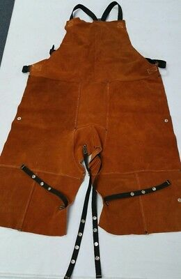 Leather Welding Bib Shop Apron Heat Resistant Blacksmith Mechanic Cowhide 24x42