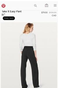 NEW Lululemon Take It Easy Pant