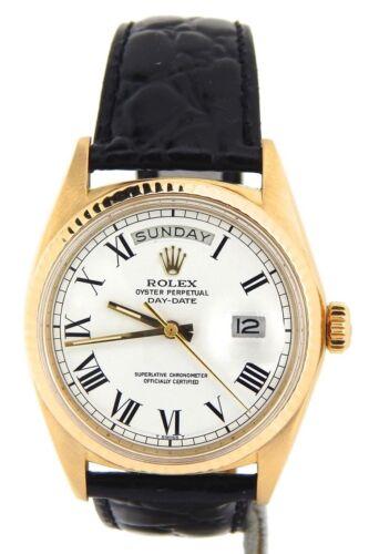 Mens Rolex Day-date President 18k Yellow Gold Watch Black Band White Roman 1803