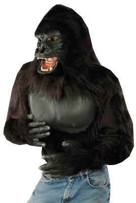 Gorilla Shirt Blk Poly Fabric Faux Fur & Latex Costume Animal Chest Shirt L/Xl