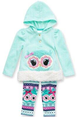 Nannette Baby Girl's 2-Piece Owl Patch Hoodie Pullover & Pant Set-Size-24M-Aqua Nannette Baby Set
