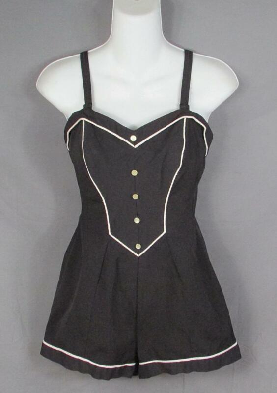Vintage 1950s Web Foot Pin-Up Swimsuit One Piece Bathing Suit Beach Sz.16 Nice!