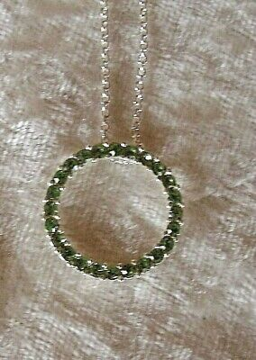 Circle Green Colored Rhinestones Pendent 3/4