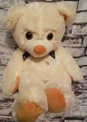 (WHITE & BROWN TEDDY BEAR PLUSH NAVY SAILOR ANCHOR BOW TIE 24