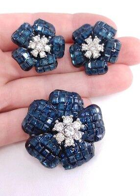 (W) Invisible Set Blue Rhinestone Flower SET Earring Brooch Pin Pendant Necklace (Pin Pendant Set)