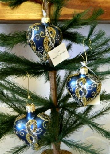 Set of 3 Gold/Silver Beaded Blue Heart Blown Glass Valentine Ornaments Poland