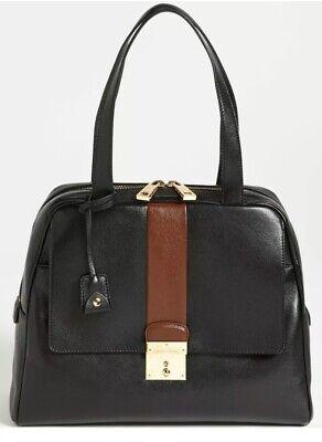 NWT $1495 MARC JACOBS Charlie Satchel Black Brown leather Lock Key Bowler