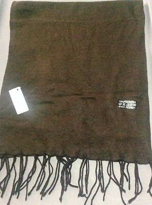 Super Star Accessories Solid Brown Polyester Fringe Border Scarf NWT