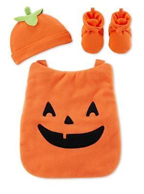 Little Baby Pumpkin Jack-O-Lantern Carrier Costume Halloween 3-pc. New Unisex