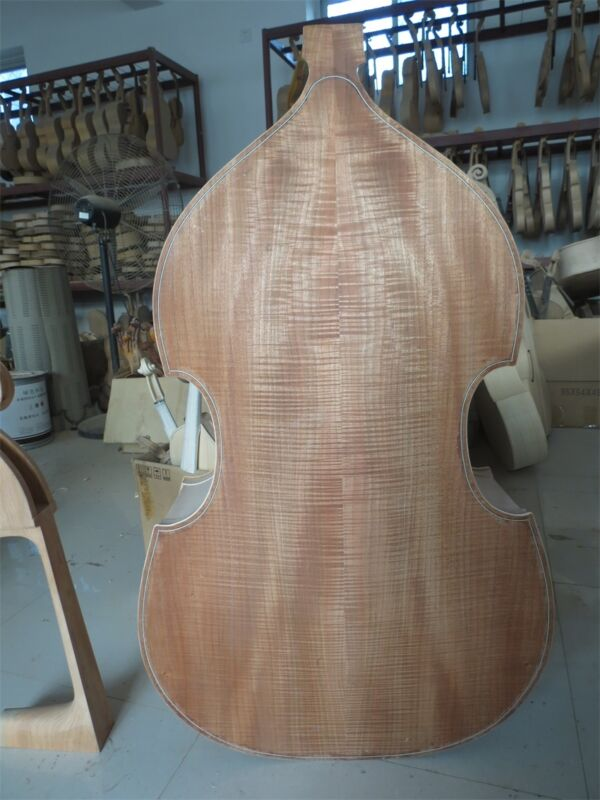 Hand made unfinished flames 3/4 upright bass,white spurce top/Plywood back