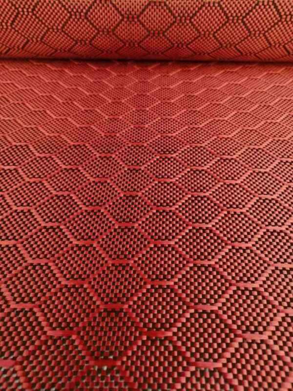 "Carbon fiber&Red Aramid mixed fabric Carbon cloth Football pattern 40""/1m width"