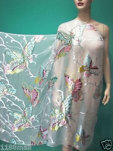 Dress making WHITE BUTTERFLY BURNOUT Fashion SILK FABRIC PER YARD