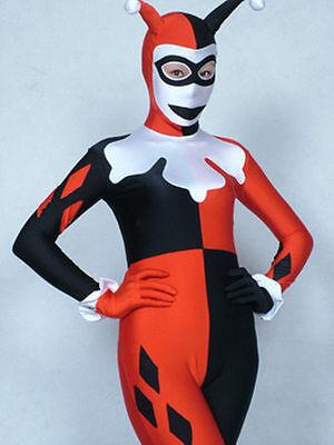 Fancy dress party lycra spandex zentai costume HARLEY QUINN size S-XXL](Harley Quinn Spandex Costume)