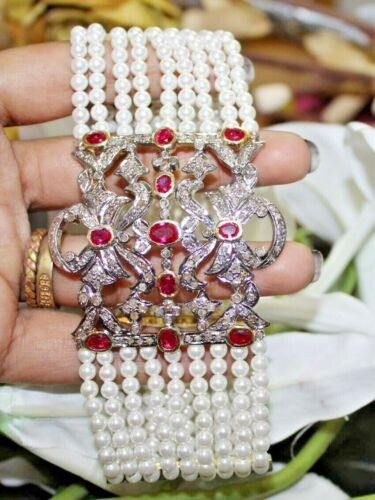 3.42cts ROSE CUT DIAMOND RUBY PEARL ANTIQUE VICTORIAN LOOK 925 SILVER BRACELET