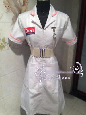Batman Joker White Nurse Uniform Coat V2 Dress Party Cosplay Costume Halloween: - Joker Nurse Costume Halloween