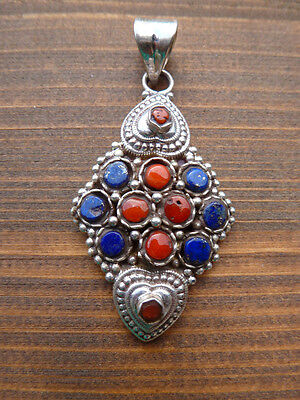 Glücks Herz 925-SILBER TIBET SCHMUCK Anhänger Amulett LAPISLAZULI + KORALLE