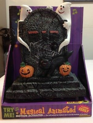 Musical Animated Halloween Motion Activated Laughing Tombstone By DanDee. NIP - Musical Halloween Activities