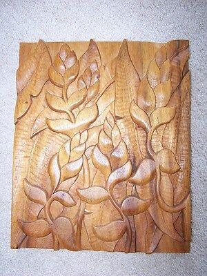 Beautiful Hand Carved In Hawaii Rare Hawaiian Koa Wood Floral Wall Hanging #1